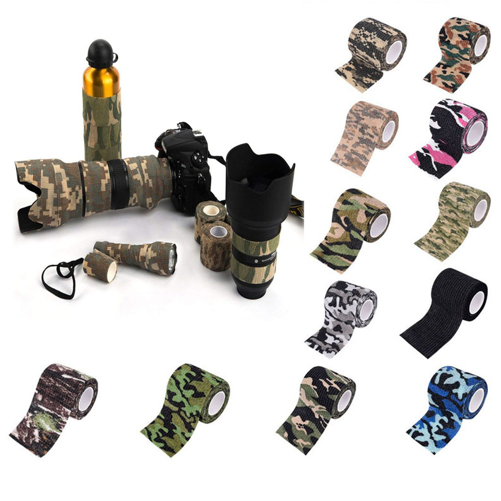Camo Wrap Tape Military Army Camouflage Tape Cling For Hunting Camping Self-adhesive Protective Stretch Bandage Roll Decor Stret