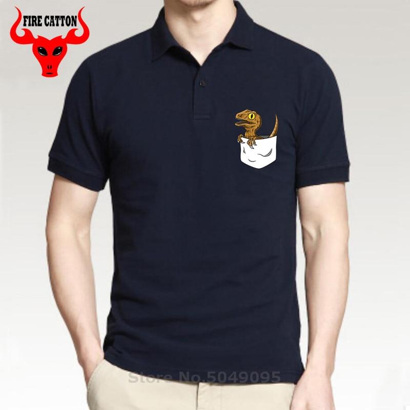 Funny Pocket Dinosaur   polo   shirt men cotton Jurassic Harajuku Park Monster Dino   polo   shirts Alien Dragon shirt Top Brand clothes