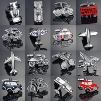 Nouveauté véhicule motos/vélos/course/voitures boutons de manchette avion/bois/cheval/Bus modelage chemises françaises homme boutons de manchette