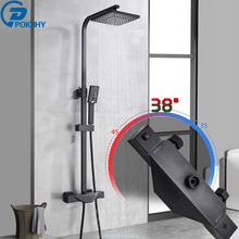 Taps Shower-Faucet-Set Thermostatic Bathroom Rainfall Spout-Mixer Brass-Tub Black High-Quality