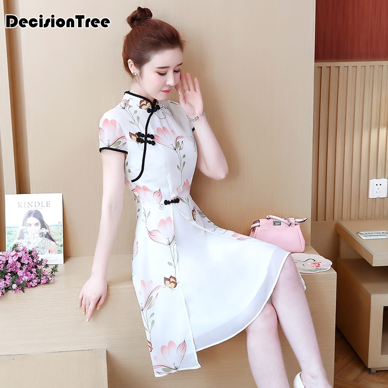 2020 Chinese Dress Traditional Printed Dress Qipao Ladies Evening Dresses Vintage Cheongsam Women Bride Chiffon Cheongsam Modern