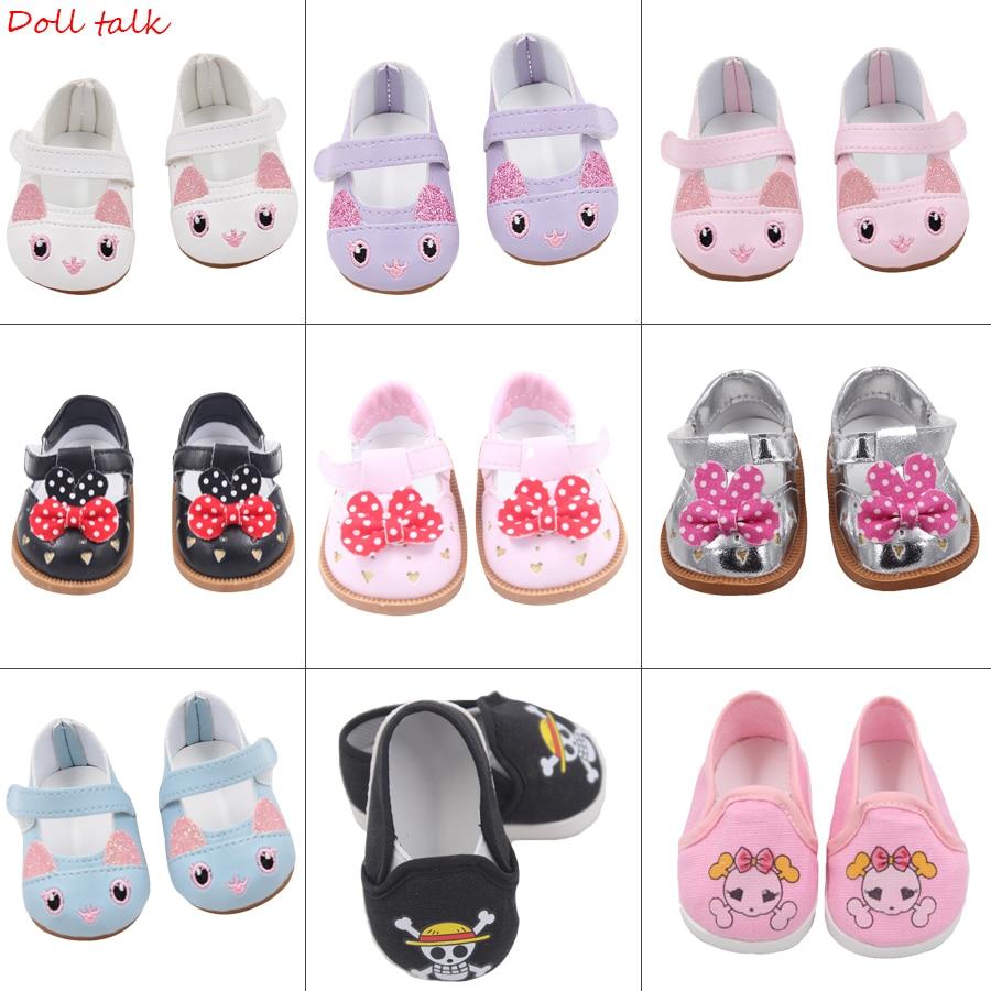 لطيف دمية الأحذية 7 سنتيمتر عالية الجودة القوس الكرتون الجمجمة نمط أحذية صغيرة ل 18 بوصة الأمريكية والطفل جديد برون دميات لعبة 1/3 BJDاكسسوارات الدمى   -
