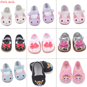 Cute Doll Shoes 7cm High-quality Bow Cartoon Skull Pattern Mini Shoes For 18 Inch American And Baby New Bron Dolls Toy 1/3 BJD(China)
