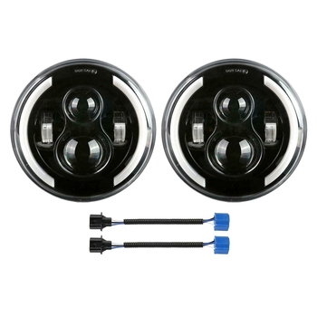 Pair 7 Inch Round 200W LED Headlight Halo Angle Eyes DRL Turn Signal Light for Jeep Wrangler JK LJ TJ CJ97-18