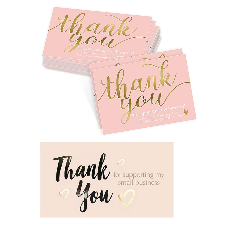 50Pcs/set Thank You for Supporting Cards Paper Thanks Greeting Card Appreciation for Small Business Owners Sellers 9*5cm