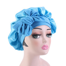 Satin Women Bonnet Stretch Solid With Wide Ties Long Hair Care Night Sleep Hat Adjust Hair Styling Cap Silk Head Wrap Shower Cap