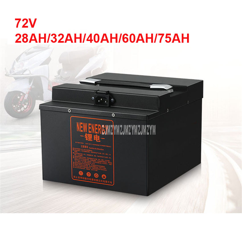 <font><b>72V</b></font> Electric Bike <font><b>Lithium</b></font> <font><b>Battery</b></font> For Less Than 2000W Motor Ebike Electric Bicycle <font><b>Battery</b></font> 28AH/32AH/40AH/<font><b>60AH</b></font>/75AH 220V image