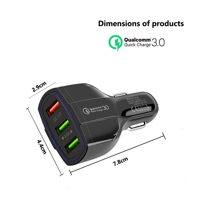 5V 3.5A for Mobile Phones 1-in-3 Cigarette Lighter 3 USB+Type-C Vehicle <font><b>Charger</b></font> Quick Filling QC3.0 Car <font><b>Fast</b></font> <font><b>Charger</b></font> image