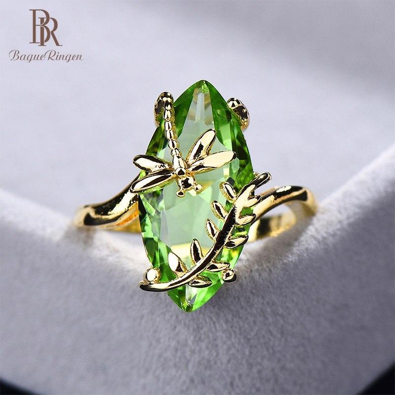 Bague Ringen 100% S925 סטרלינג כסף טבעת עם סגלגל אמרלד חן לנשים אירוסין תכשיטי חתונה סיטונאי מתנה