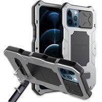 Funda protectora completa para iphone 12 Pro Max, carcasa de Metal a prueba de golpes y suciedad, carcasa de armadura de Metal resistente al agua, diseño innovador, 360