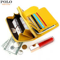 VICUNA POLO Top Sell Short Design Waxy Oil Leather Card Wallet For Women Fashion High Capacity Ladies Coin Wallet portfel damski