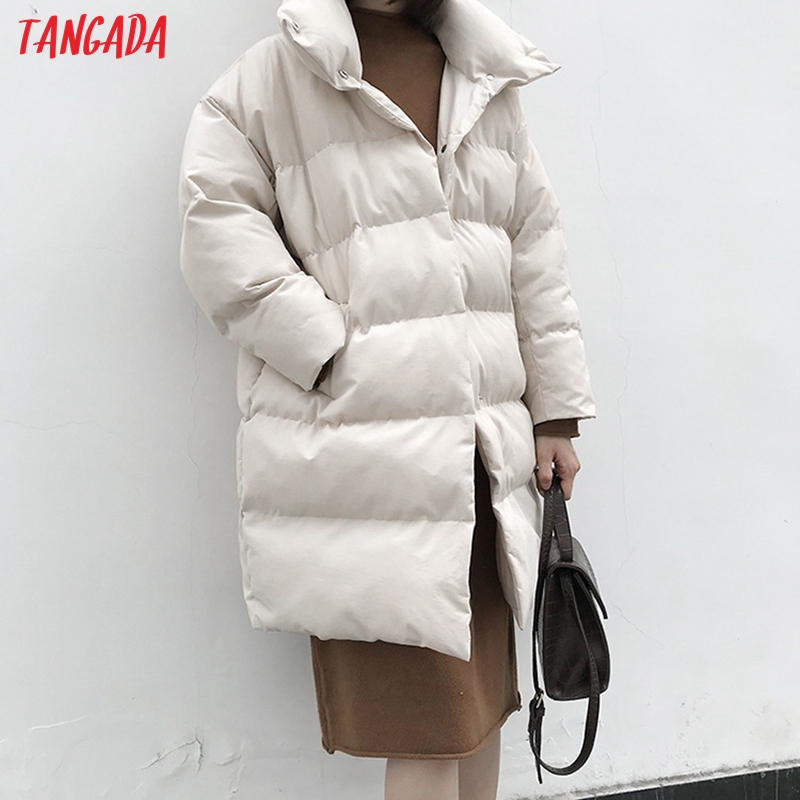 Tangada Women Solid Oversize Long Parkas Thick 2019 Long Sleeve Buttons Pockets Female Warm Winter Coat