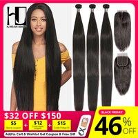 HJ Weave Beauty Straight Human Hair Bundles With Closure 30inch Brazilian Hair Weave Bundles 7A Virgin Hair Bundles With Frontal