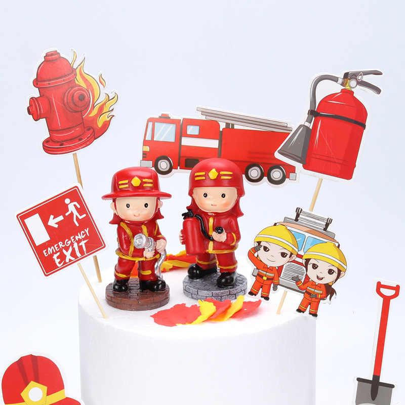 Phenomenal 7Pcs Fire Hero Baby Shower Kids Birthday Cake Decorating Cake Funny Birthday Cards Online Inifofree Goldxyz