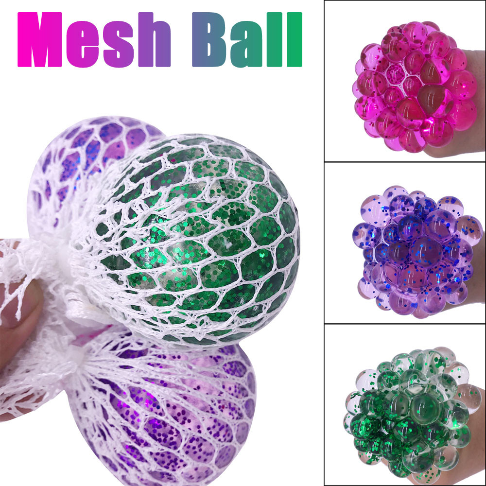 Toy Ball-Stress Squeeze-Grape Colourful Relief-Toys Mesh Glowing Anxiety