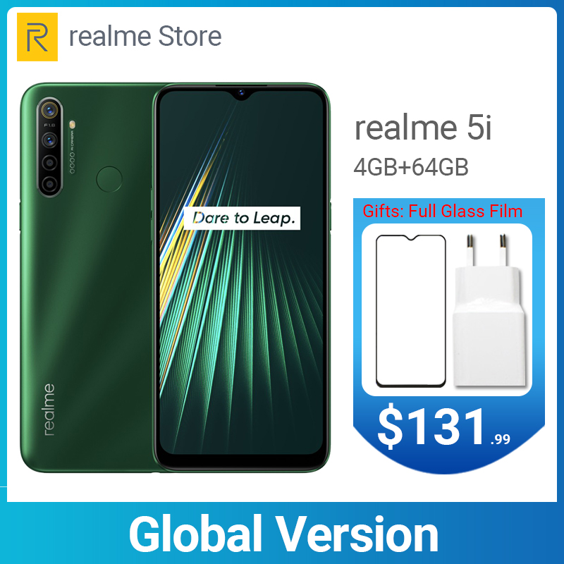 Realme 5i Global Version 4GB 64GB 6.5'' Moblie Phone Snapdragon 665 AIE 12MP Quad Camera Cellphone 5000mAh 10W EU Charger