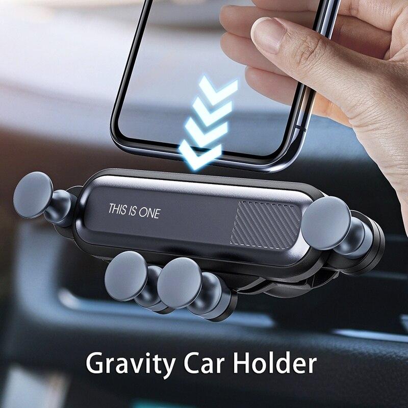 โทรศัพท์มือถือแรงโน้มถ่วงผู้ถือโทรศัพท์สำหรับรถยนต์ Mount Air Vent คลิปผู้ถือ GPS ยึดขาตั้งไม่มีแม่...