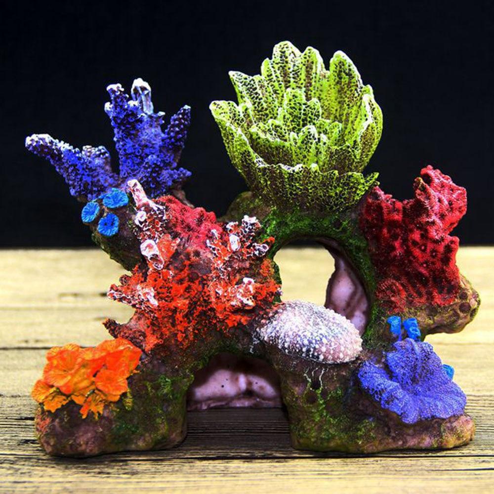 decoração escondendo caverna recife de coral escudo tanque de peixes ornamento
