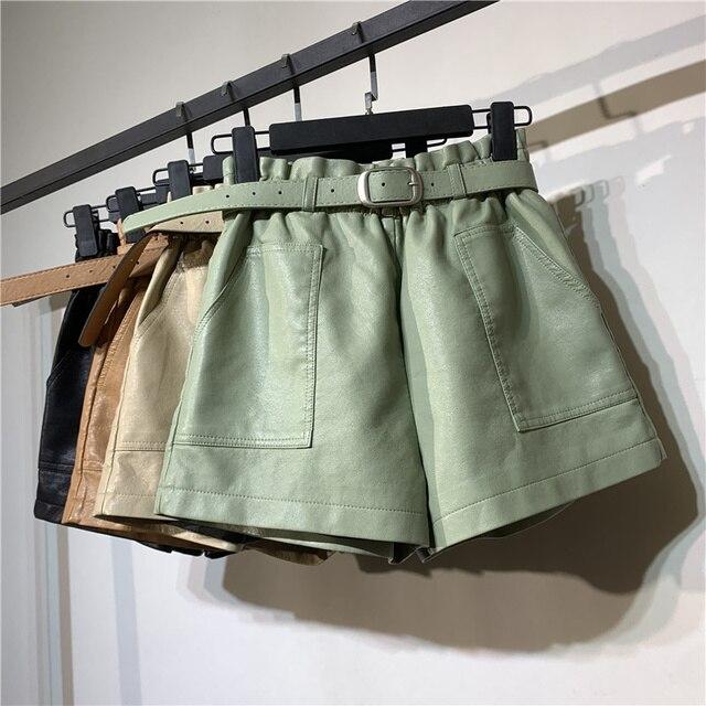Autumn Winter Faux Leather High Waist Shorts Women With Belt Pockets Wide Leg Sexy Shorts Short Femme Women Leather Shorts C5922 1