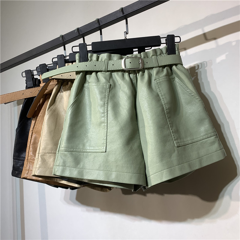Autumn Winter Faux Leather High Waist Shorts Women With Belt Pockets Wide Leg Sexy Shorts Short Femme Women Leather Shorts C5922