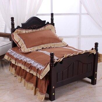 Съемная и моющаяся новая четырехсезонная деревянная кровать для домашних животных, кровать принцессы для собак, прочная маленькая кровать