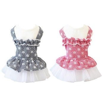 Pet Spring Summer Cotton Clothes For Dog Girls Small Medium Dog Bubble Plaids Gauze Skirt HOT image
