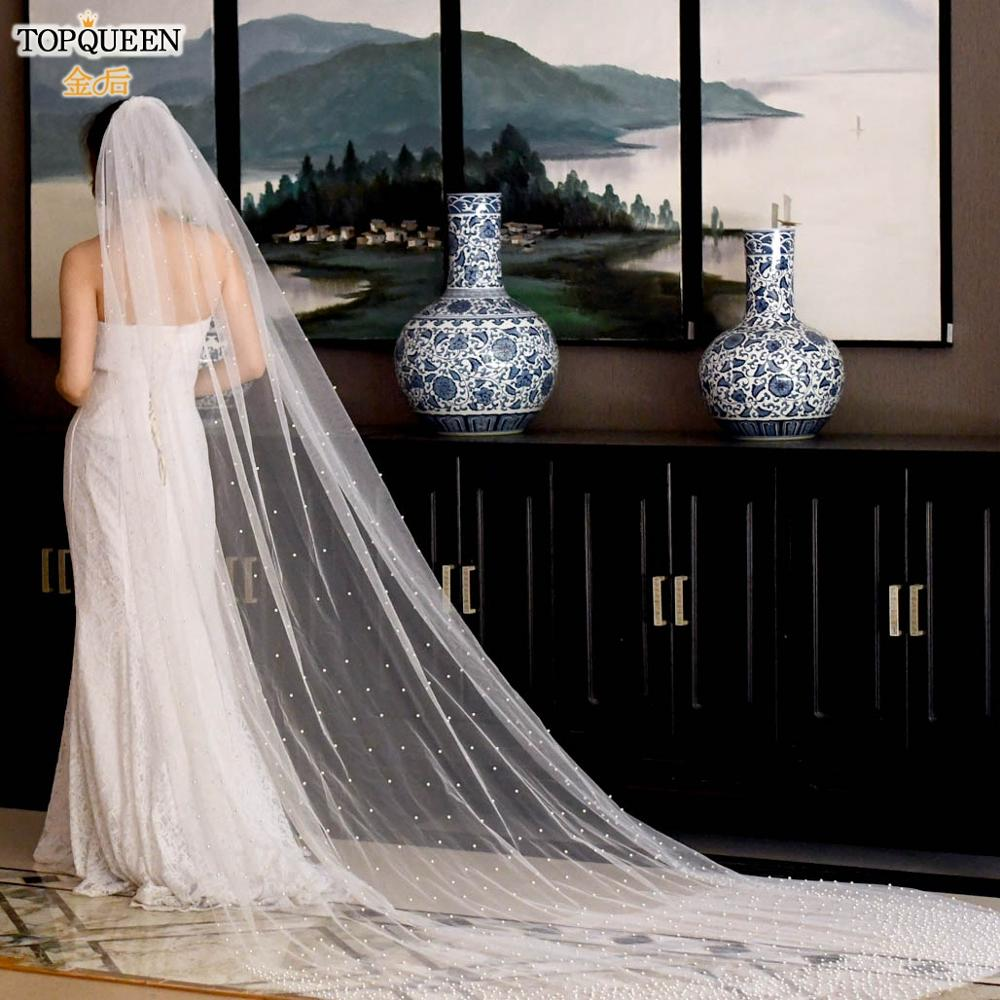 TOPQUEEN V10 wholesale Bridal Veil for Bride for Marriage Bridal Cathedral Veil with Comb White Ivory Veils for Wedding Party