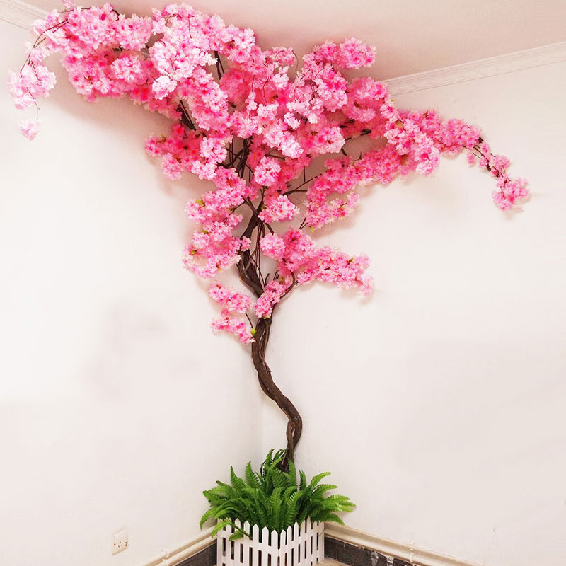 Yumai Fake Cherry Blossom Tree Pink Big Sakura Artificial Flower Set Wedding Party Background Wall Decoration Shop Window Decor