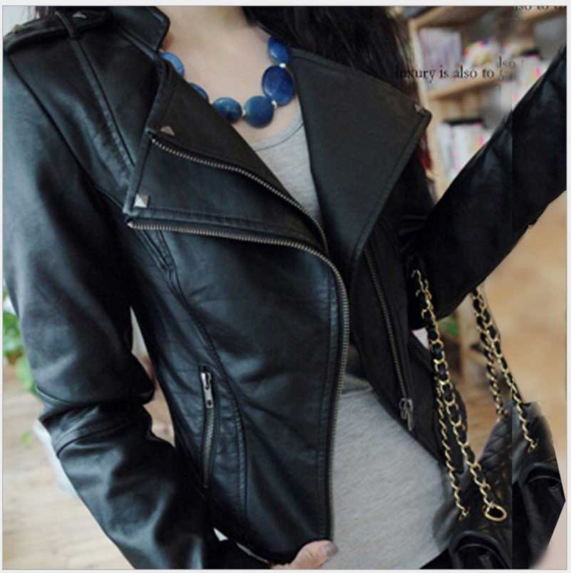 NiceMix Pu   Leather   Jacket Women Fashion Bright Colors Black Motorcycle Coat Short Faux   Leather   Biker Jacket Soft Jacket Female