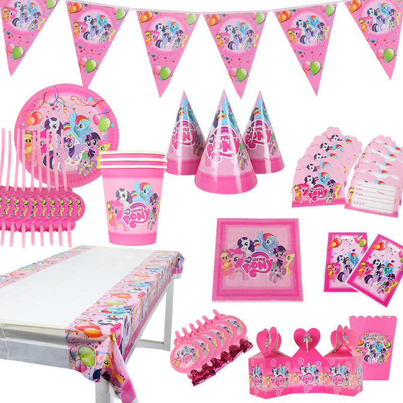 My Little Pony Thema Kid Jongens Gunst Verjaardag Pack Event Party Leuke Cup Plaat Masker Baby Douche Wegwerp Servies Sets supply