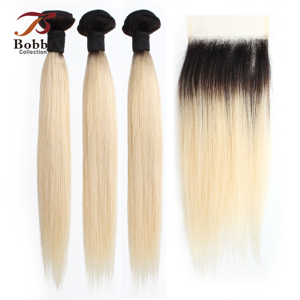 BOBBI COLLECTION T 1B 613 Dark Root Platinum Blonde Bundles With Closure Brazilian Straight Non Remy Human Hair 10-28 Inch