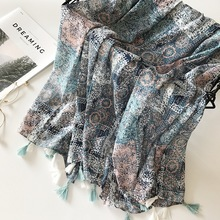 2019 Ladies Fashion Aztec Tassel Viscose Shawl Scarf Women High Quality Wrap Pashmina Stole Bufanda Muslim Hijab Snood 180*90Cm