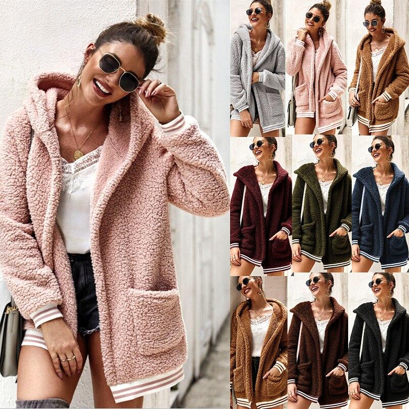 Winter Women Faux Fur Coat  Casual Solid Warm Long Sleeve Faux Fur Jacket Coat Female Vintage Outwear Casaco Feminino