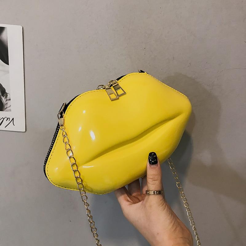 Lip Shaped Women's Bag PVC Tote Bag Solid Zip Shoulder Bag Messenger Bag Phone Coin Bag Party Clutch Bolsas Feminina Saco