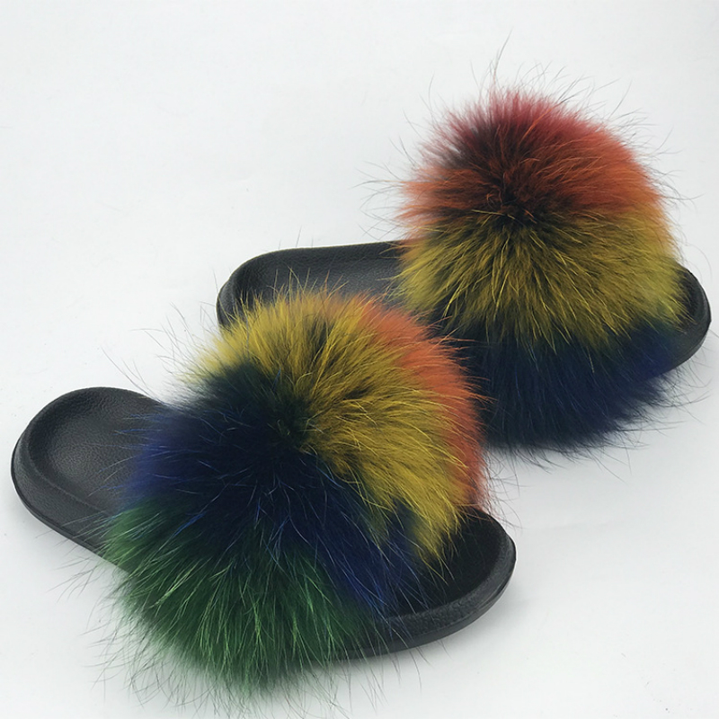 Women Fur Slides Summer Shoes Home Woman Luxury Furry Slippers Indoor Female Sandals Fluffy Cute Raccoon 2019 New Plus Size 4
