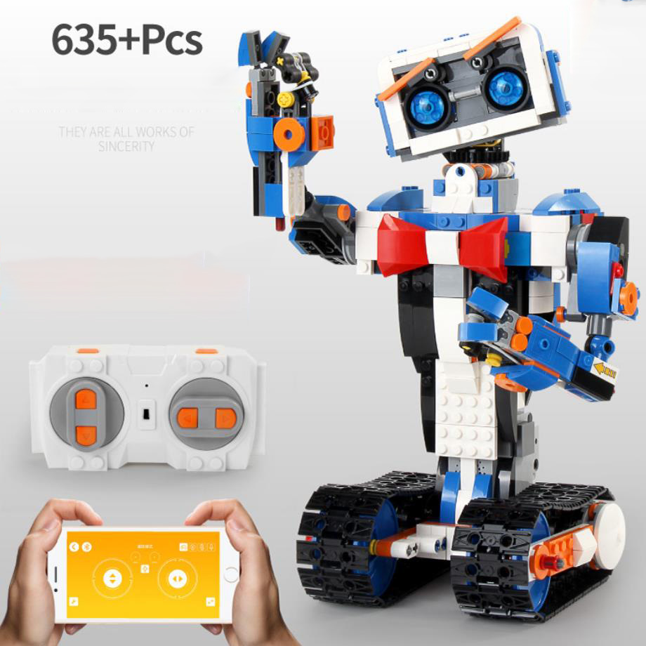 technic 2.4Ghz radio remote control smart Tracked robot building block steam assembly bricks app rc toys for kids gifts
