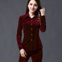 2020 Lente Fall Womens Fluwelen Enkele Knop Shirts Slim Fit Lange Mouw Casual Tees Tops Warme Fluwelen Shirts Gratis Verzending 2XL(China)