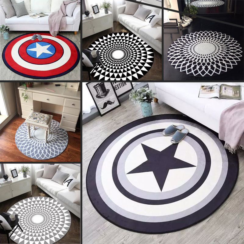 OLOEY 1PC 80cm Diameter Marvel The Avengers Plush Carpet Iron Man Captain America Batman Rug Cotton Christmas Gift For Kids