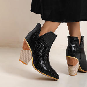 Shoes Ankle-Boots Western Cowboy Cowgirl High-Heels Autumn Winter Women Short Snake Cossacks