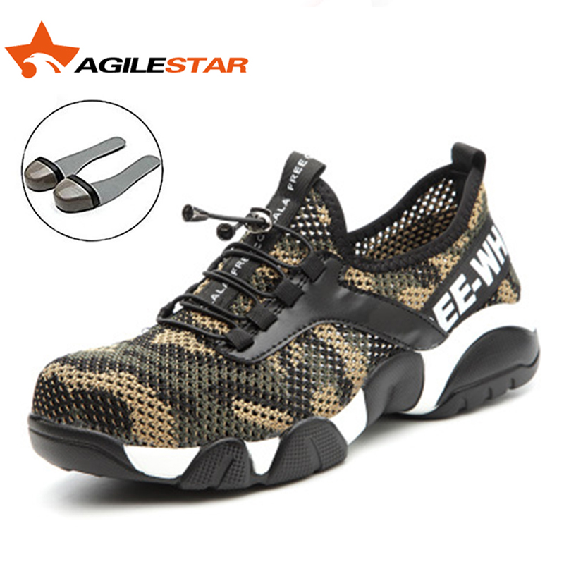 Super Light Safety Work Shoes Breathable Mesh Outdoor Anti Smashing Sport Style Factory Worker Safty Camo Steel Toe Hiking Boots