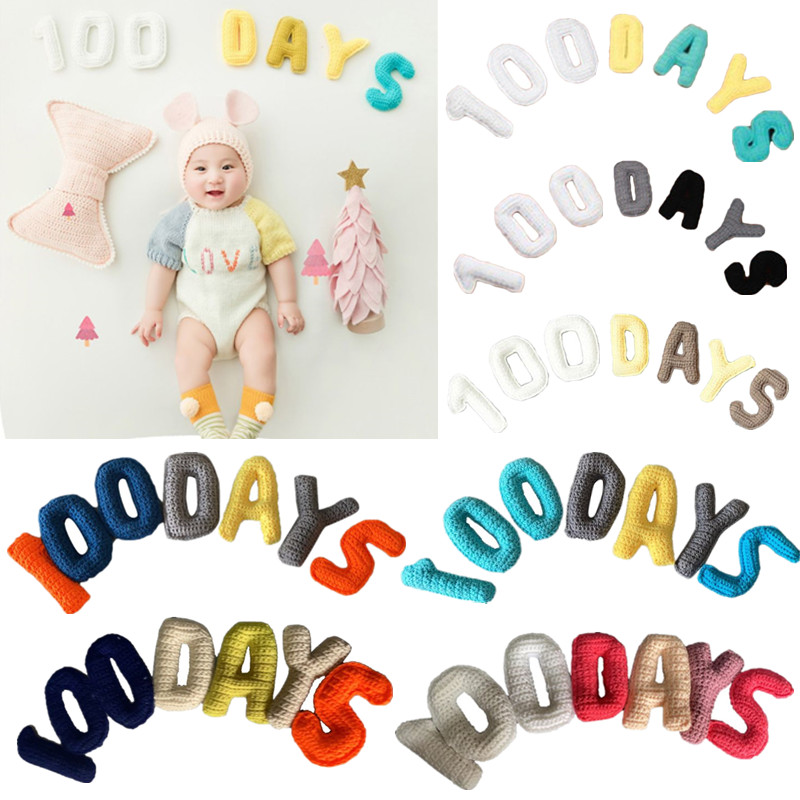 6.99US $ 34% OFF 1 Set Newborn Baby 100 Days Creative Knitting 3D Letters Props Photography Backdrop...