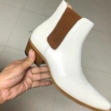 FR.LANCELOT 2020 New Chelsea boot white leather boots point toe slip on ankle bo