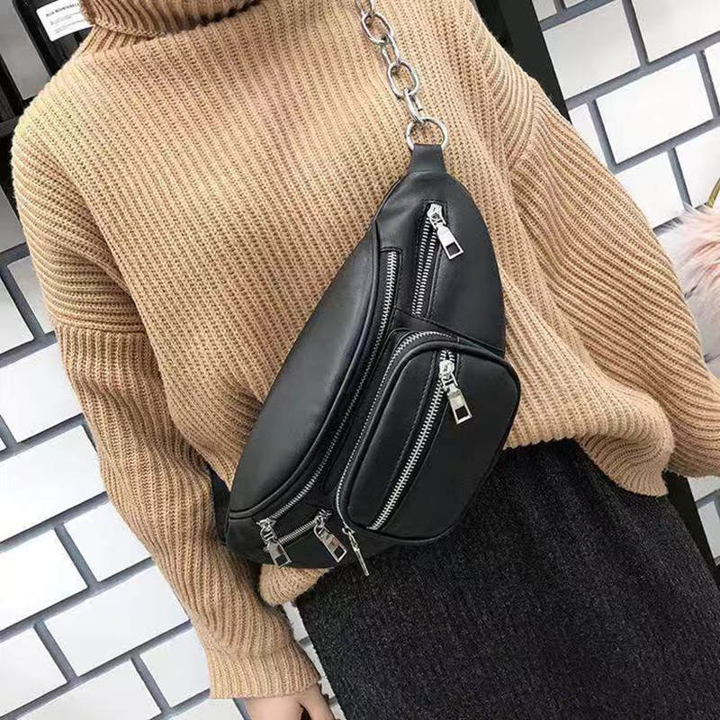 2019 New Ladies Bag Waist Bag Ladies Bag Luxury Brand PU Bag Bag Black New Fashion High Quality