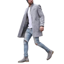 New Men #8217 s Coat Social Casual Autumn Winter Warm Fashion Pure Color Long Koren Style Jacket Streetwear Hip Hop Male Windbreaker cheap Toplimit Full Solid Single Breasted Turn-down Collar REGULAR HB19102115 NONE Broadcloth COTTON Conventional Polyester Wool Blends