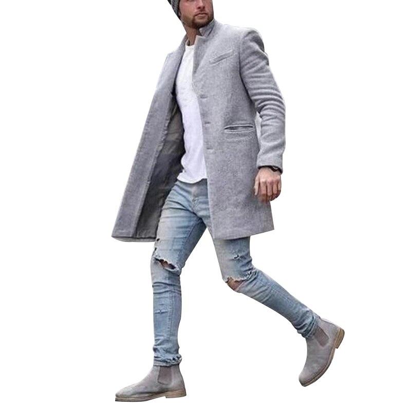 Novo Cabolsa Masculino Social Casual Outono Inverno Quente Moda Cor Pura Longo Estilo Koren Jaqueta Streetwear Hip Hop Blusão