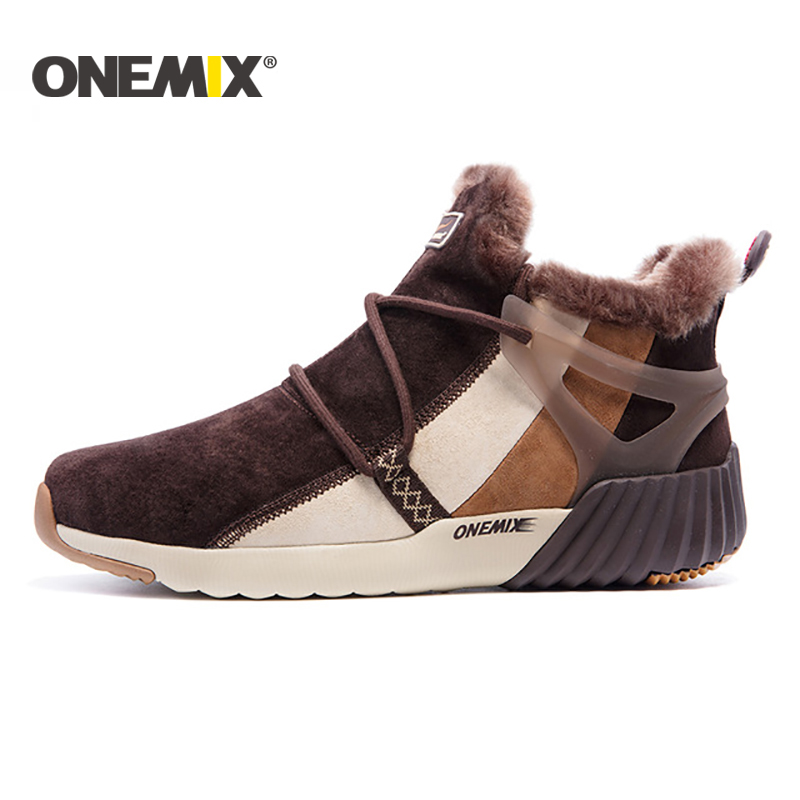 ONEMIX Winter Men's Boots Warm Wool Sneakers Outdoor Unisex Athletic Sport Shoes Comfortable Running Shoes Sale Size EU36-45
