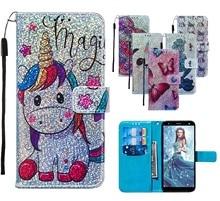 Bling Portemonnee Flip Lederen Cases Voor Huawei P20 lite Y9 Prime 2019 Honor 20 Pro Nova 5i P Smart Z mermaids Patroon Bag Back Cover