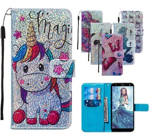 Image 1 - Bling Wallet Flip Leather Cases For Huawei P20 lite Y9 Prime 2019 Honor 20 Pro Nova 5i P Smart Z Mermaids Pattern Bag Back Cover