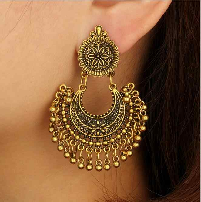 Logam Rumbai Jhumka Etnis India Bollywood Menjuntai Anting-Anting Fashion Perhiasan