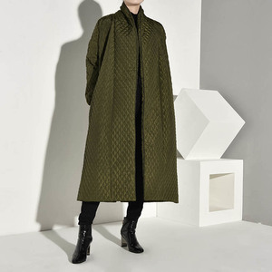 Image 2 - LANMREM  PLaided Cotton padded New Green Color Coat Long Sleeve Loose Fit Women Parkas Fashion Tide New Autumn Winter 2020